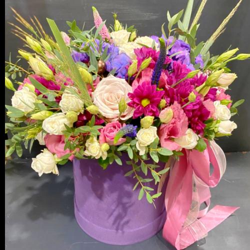 Цветочная композиция «Да Винчи» в шляпной коробке