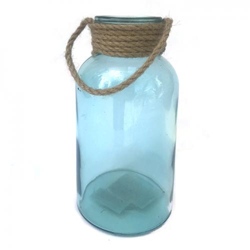 Стеклянная ваза прямоугольная с бечевкой (голубая)